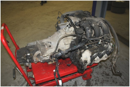 Porsche engine removed